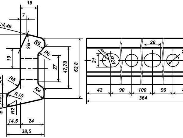 чертеж стыковой накладки Р-24